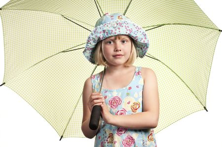 girl with umbrella on white background Stock Photo - 5072617