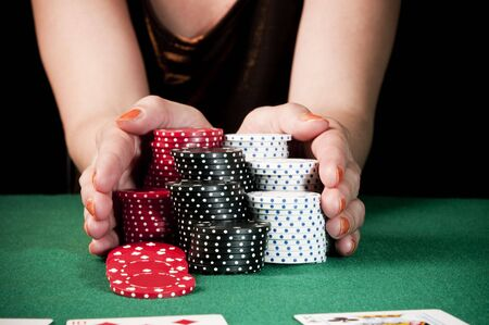 Woman doing all-in playing poker