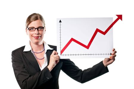 Business woman showing a chart on white background Stock Photo - 5443291