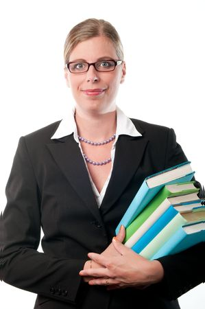 Business woman with books on white background