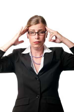Business woman with headache on white background