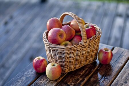 Apples in a basket  photographed out doors on terrace in rain Stockfoto