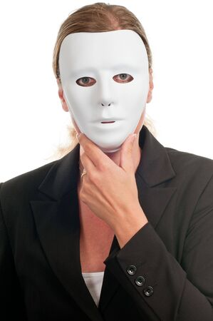 Business dressed woman in mask isolated on white