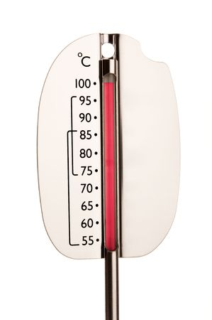Isolated thermometer showing 100 degres indicating hot Stock Photo