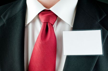 A businessman with a tie with a blank tag Stock Photo