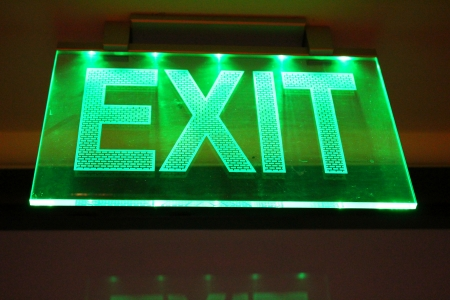 Lighting exit sign Standard-Bild