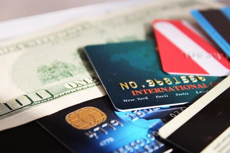 Credit cards and banknote  macro Stock Photo - 24440259