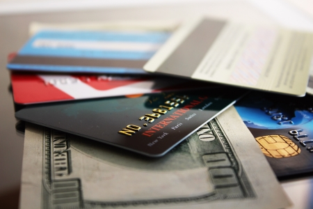Credit cards and banknote  macro Stock Photo - 24440255