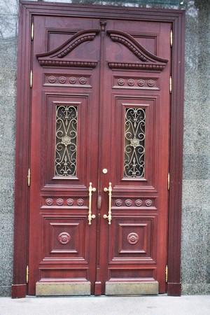 Solid red wood doors photo