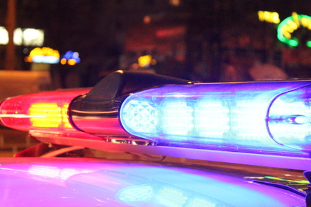 traffic police: Police lights by night Stock Photo