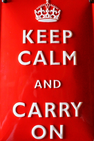 Red plate  Keep calm and carry on  photo