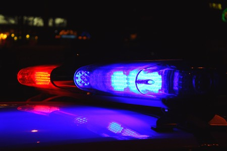 Police lights by night Standard-Bild