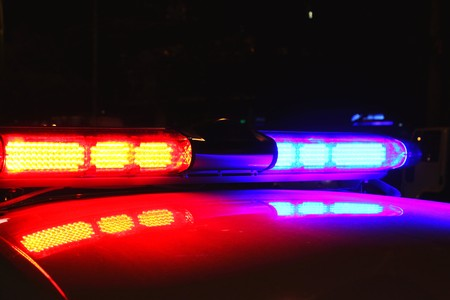 police equipment: Police lights by night Stock Photo