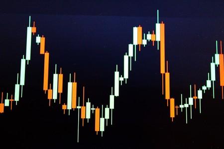 bull market: Forex japanese candles chart Stock Photo