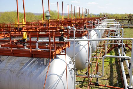 lng: LNG tanks in a row Stock Photo