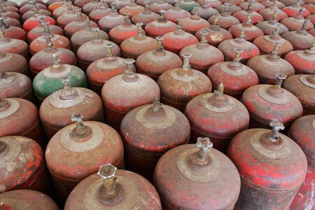 liquified: Gas cylinder rows