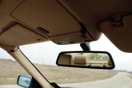 rearview: Car rearview mirror Stock Photo