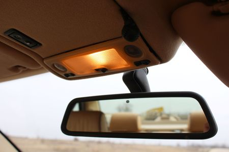 rearview: Car rearview mirror with lights Stock Photo