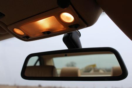 Car rearview mirror with lights Archivio Fotografico