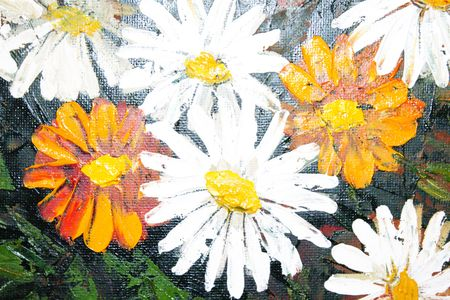 Daisy flowers strokes on paint picture (macro) photo