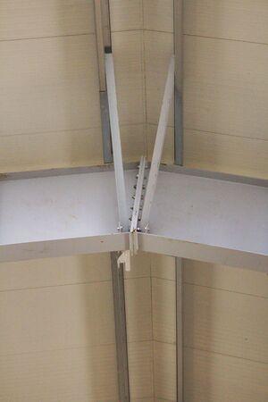 metal fastener: Metallic beams connection Stock Photo