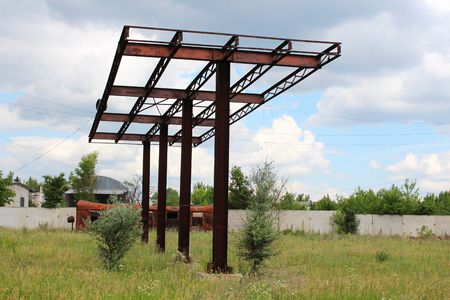 abandoned gas station: Abandoned rusty canopy gas station Stock Photo