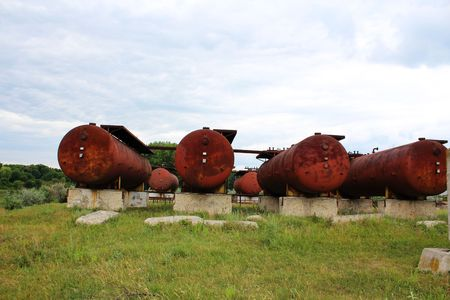 Rusty liquified gas cylinders