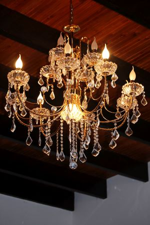 architectural feature: ?rystal chandelier in light Stock Photo