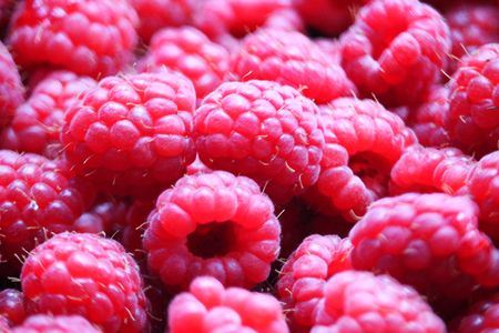 Macro of Raspberries Standard-Bild