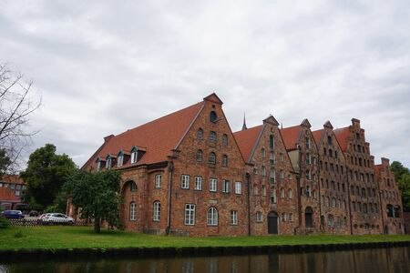 Brick buildings in lubeck close to river