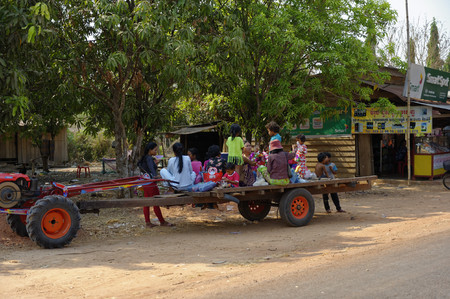 Siem Reap, Cambodia: A Cambodian family is making a trip on the occasion of a celebration