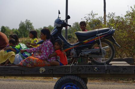 Siem Reap, Cambodia: A Cambodian family is doing a trip on the occasion of a celebration
