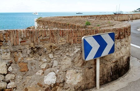 ramparts: Winding road on Antibes ramparts  French riviera Stock Photo