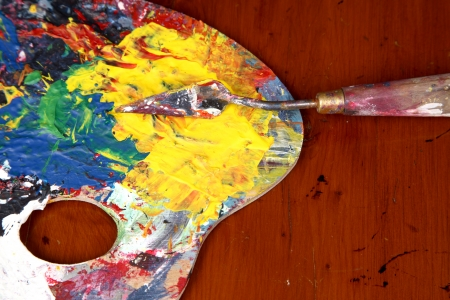Artist s palette of colors with palette knife  Stock Photo