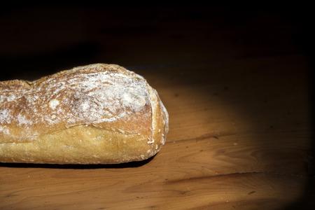 French bread on a dark background.