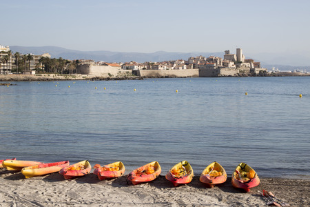 Canoes on a beach in Antibes, south of France
