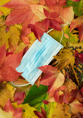 Face mask between colorful autumn leaves Standard-Bild