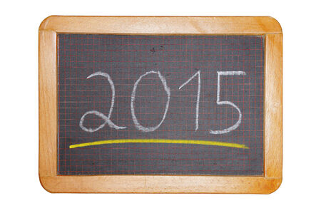 2015 with yellow underline on chalkboard cut out photo