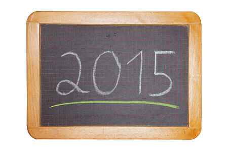 2015 with green underline on chalkboard cut out photo