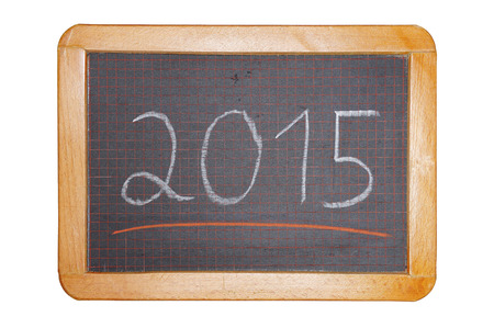 2015 with red underline on chalkboard cut out stock photo picture