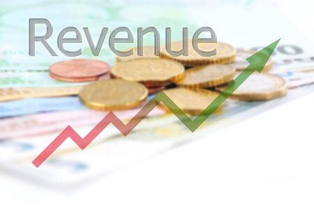 revenue: diagram upwards revenue with color gradient
