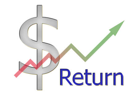 stock market return: diagram upwards return with color gradient and dollar symbol Stock Photo