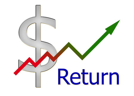 stock market return: diagram upwards with color gradient and dollar symbol