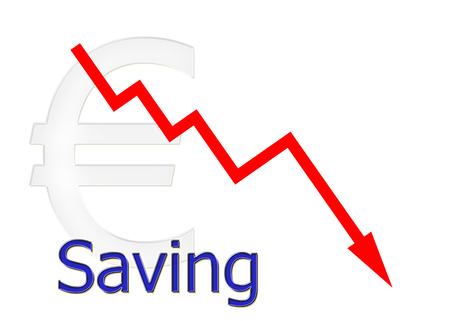 downwards: red diagram downwards saving with euro symbol Stock Photo