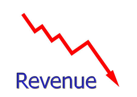 downwards: red diagram downwards revenue