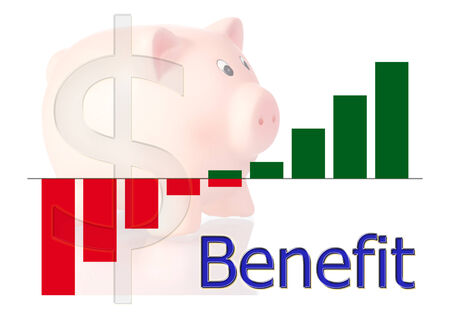 off balance: bar diagram benefit piggy bank and dollar symbol