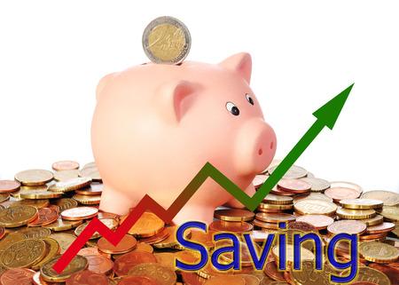 diagram upwards saving with piggy bank Stock Photo