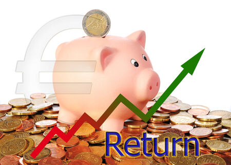 stock market return: diagram upwards return with piggy bank and euro symbol