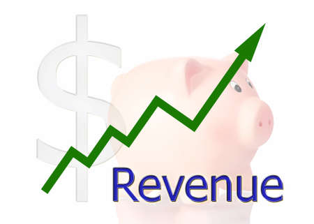 revenue: green diagram upwards revenue with piggy bank