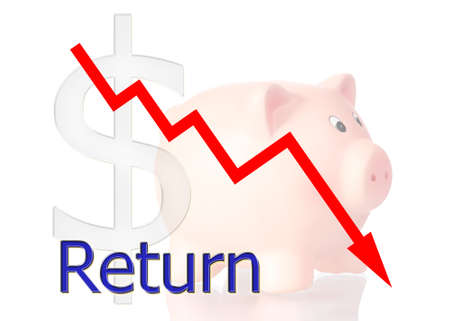stock market return: red diagram downwards Return with piggy bank dollar symbol Stock Photo